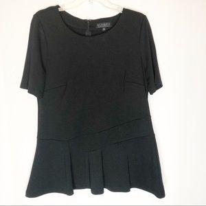 Eloquii Black Peplum Hem Short Sleeve Blouse 14